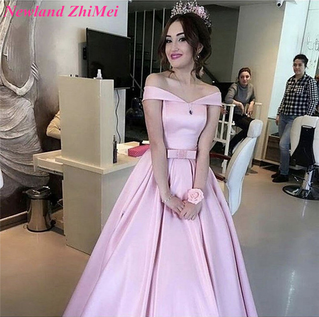 Light Pink Prom Dresses Custom Made 2018 Off Shoulder
