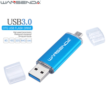 WANSENDA Fast Speed USB 3.0 OTG Pen drive 64GB Metal Flash Drive 128GB 32GB 16GB 8GB Double Use Pendrive