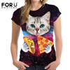 FORUDESIGNS Galaxy Space 3D T Shirt Women Lovely Kitten Cat Eat Taco Pizza Funny Tops Tee