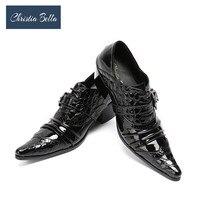 Christia Bella Fashion Fold Designer Dress Shoes For Men Black Genuine Leather High Heel Wedding Party