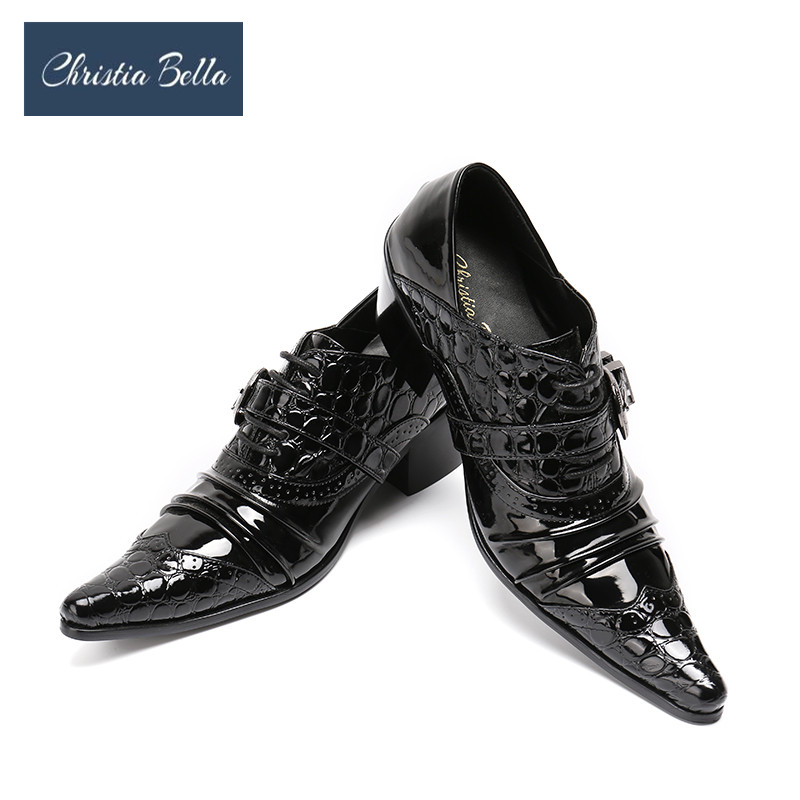 Christia Bella Fashion Fold Designer Dress Shoes for Men Black Genuine Leather High Heel Wedding Party Plus Size 38-47