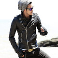 Metrosexual man motorcycle leather sheepskin Biker Jacket Mens genuine Leather Suede Leather L210 Knight