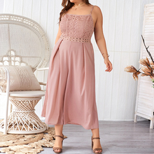 Plus Size Women Jumpsuits Overalls Female Rompers Summer Fashion Lady Sleeveless Translucent Streetwear New H40