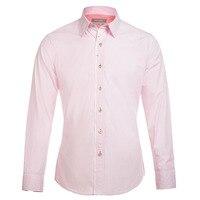 Pink Plaid Men Shirt 2017 New Arrival Mens Dress Shirts Brand Design Long Sleeve 100 Cotton