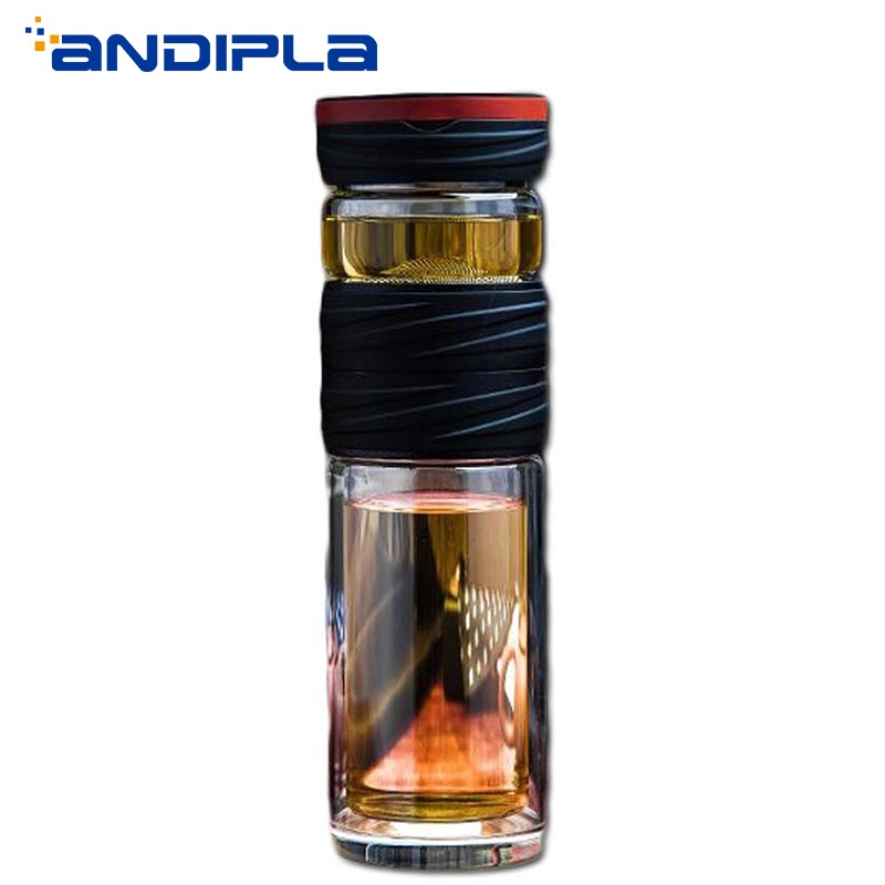 fc864d1fb7 Portable 500ml Double Wall Glass Water Bottles Kung Fu Tea Set 2 Layer  Stainless Steel Filter