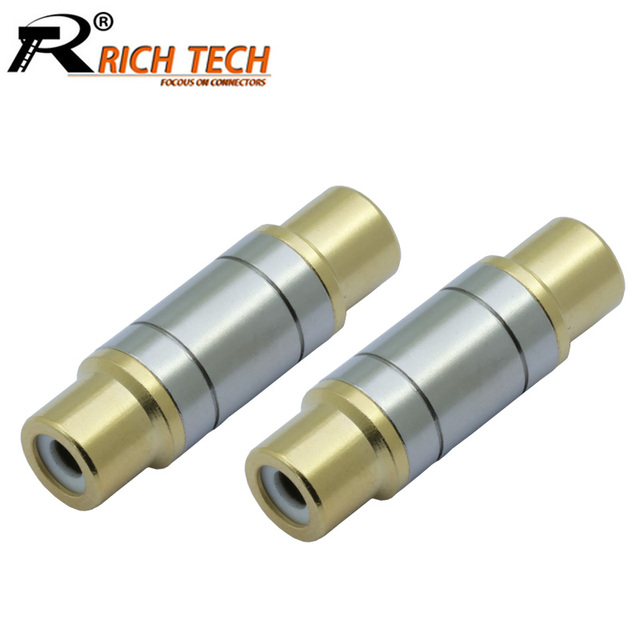 2pcs/lot Dual RCA Connectors High Quality RCA Female to Female Jack Socket Straight Adapter Gold Plated Speaker Audio Connector