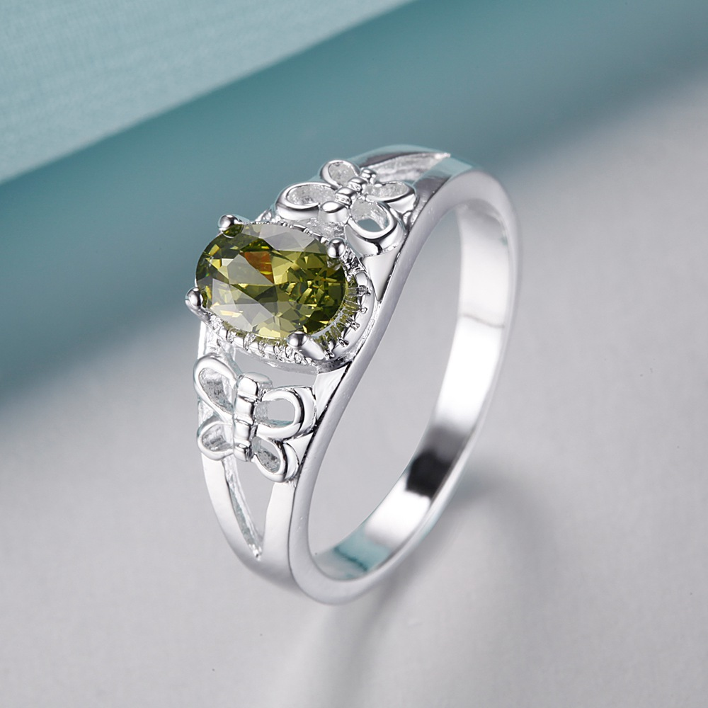 Elegant Dark Green Stone Silver Plated Ring Fashion