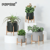 PGFYRS Nordic desktop solid wood flower stand cement fleshy flower pot creative simple living room balcony assembly flower pot
