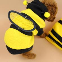 Pet Cat Clothes Warm Clothes Costume for Small Cat Pet Bee Pattern Coat Clothes for Small Large Puppy Yellow Shirt Lovely Coat