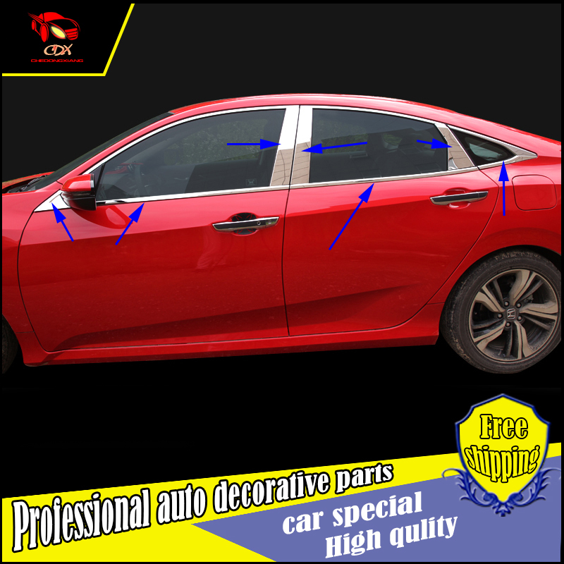 Car styling stainless Steel Window Trim Sticker For Honda Civic 2016 Windows Frame Trim Sequin Cover decorate Accessories