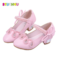Pink high heel shoes girls summer sandals 2018 fashion children's beaded leather shoes girls party wedding dance princess shoes girls pink lolita shoes cosplay shoes 5cm high heel pu bow pink shoes sy 2374
