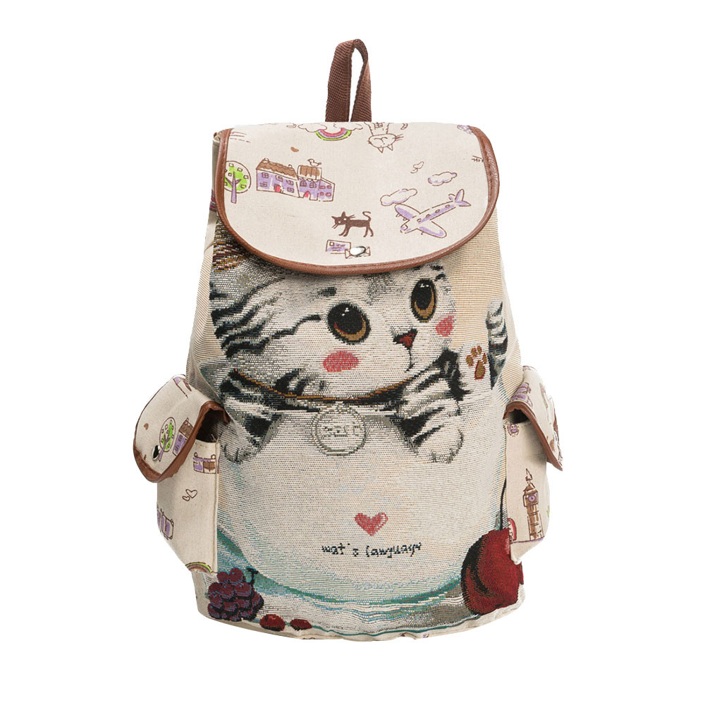 xiniu Fashion Canvas School Backpack Women Lovely Cat Printed Drawstring Backpack Polyester Hasp bags for women 2018 bagpack все цены