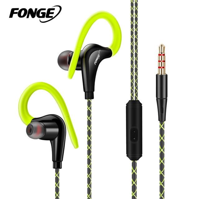 Fonge Stereo Sport Øretelefon Hovedtelefon Håndfri In-Ear Headset 3,5 mm Med Mikrofoner Til Alle Mobiltelefoner