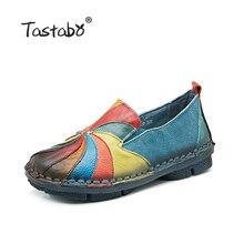 Tastabo 2017 модная дамская обувь женские натуральная кожа для беременных на плоской подошве повседневные Мягкие Лоферы женские Туфли на плоской подошве для вождения плюс Размеры