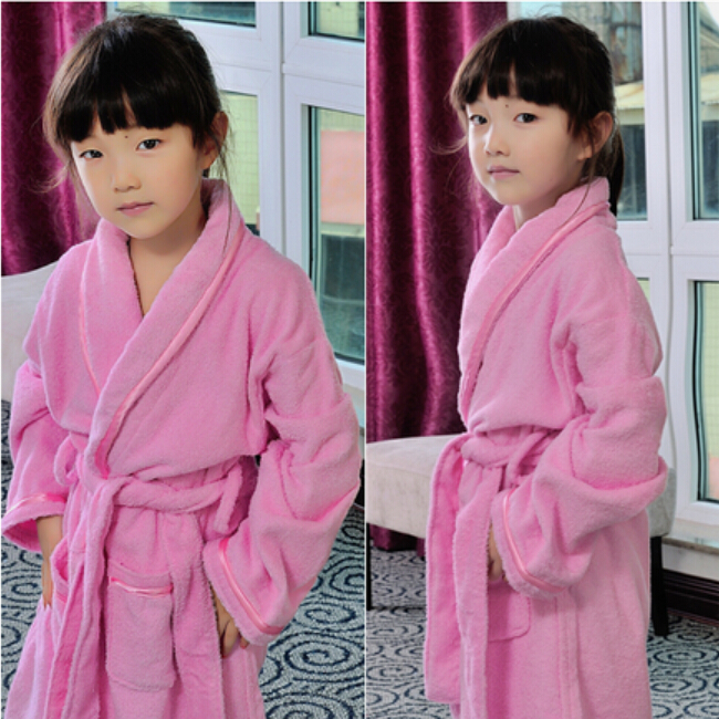 children's bathrobes long sleeve soft sleepwear girls pink robe blue yellow roupao boys robes pyjamas kids white dressing gown