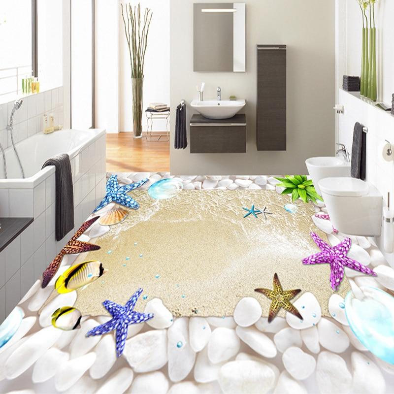 custom 3d pvc floor mural wallpaper starfish stones beach waterproof wall cover bathroom antislip self adhesive floor sticker