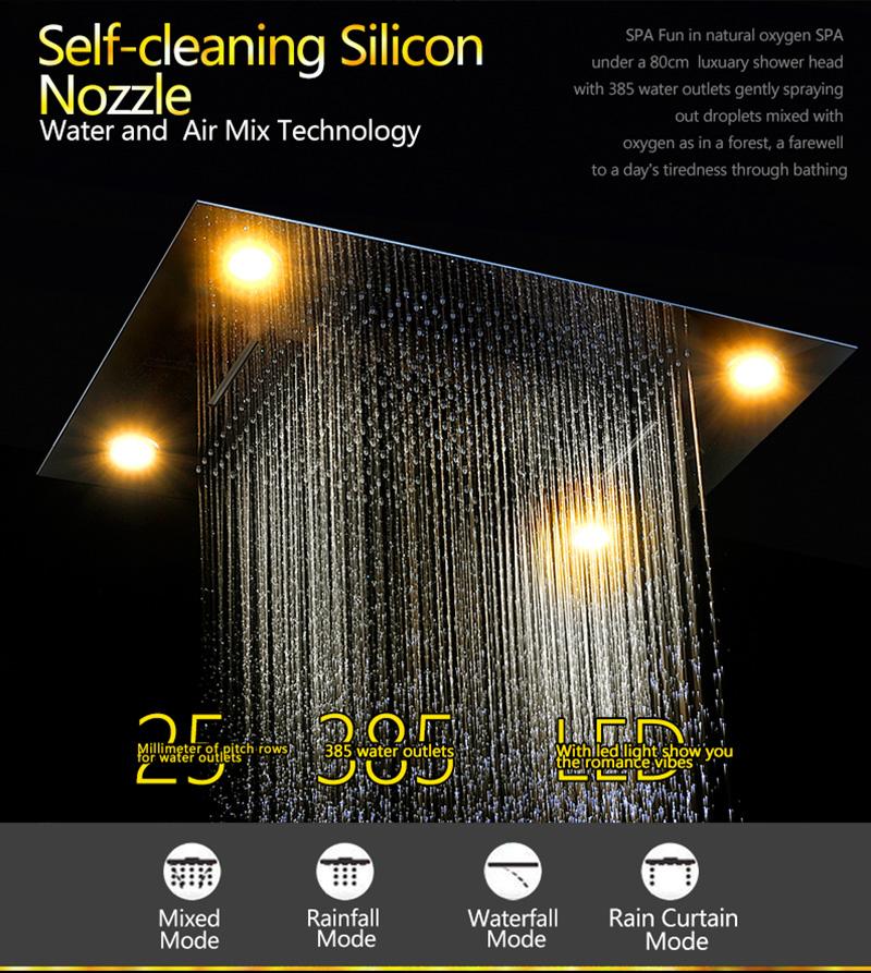Luxurious LED Shower System Ceiling Mount Rain Head Set 31 Luxury Big Rain Shower Head Dual Rain and Waterfall Shower Sets (5)