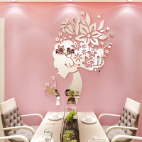 Creative Flower Fairy Acrylic 3d self adhesive wall sticker Living room bedroom beauty salon decorative mirror wall sticker