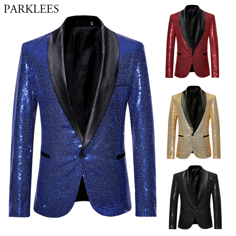 Shiny Sequin Glitter Blazer Jacket Men Casual Slim Fit Shawl Collar Male Royal Blue Tuxedo Blazers Singer Costume Coat Masculina
