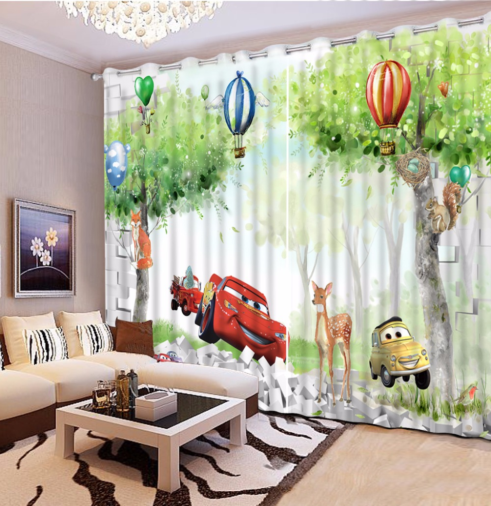 short curtains for kitchen customize 3d curtains for living room Cartoon forest car curtains for bedroom