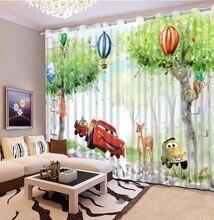 Cortinas cortas para cortinas para la sala de cocina personalizar 3d bosque Cartoon coche cortinas opacas cortinas para el dormitorio