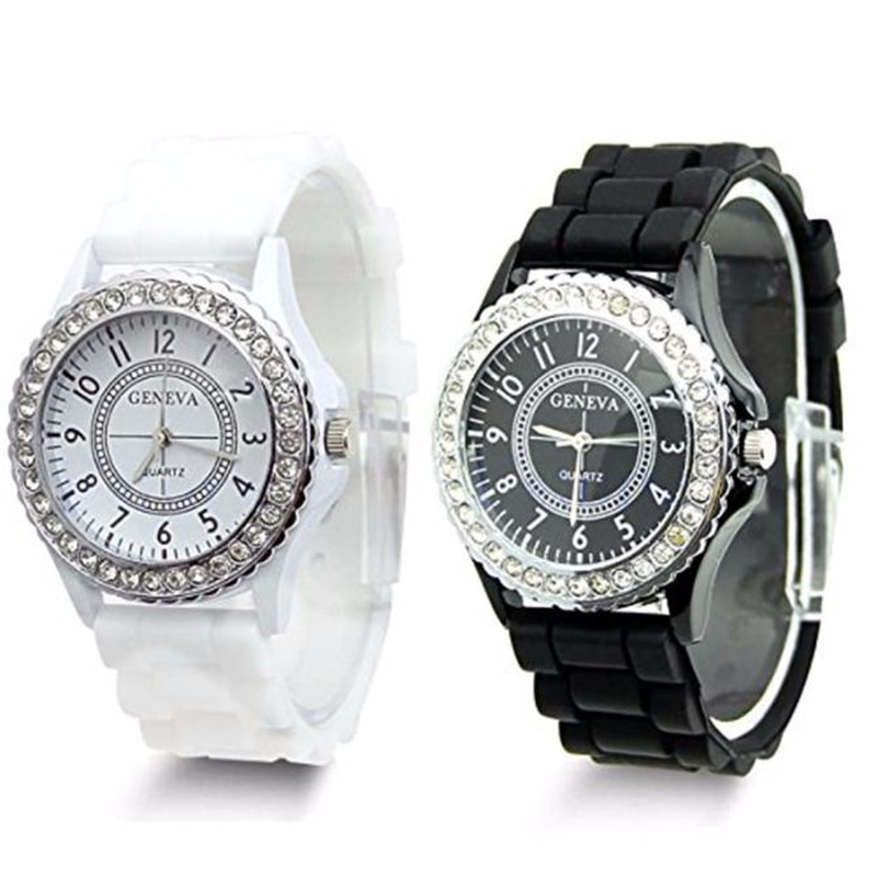 Irisshine I0727 High Quality Clock Brand Luxury Gift 1pair Unisex Watch Couple Black White Faux Rhinestones Chronograph Silicone