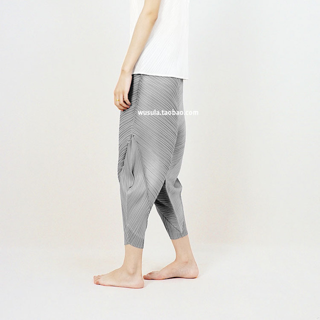 Fold the sense of three-dimensional architecture of 9 feet wide leg pants PLEATED PANTS 3D trousers free shipping