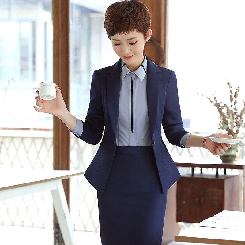 Taille Ol Un Suits Vêtements Plus Pants black Blazer Manches Bureau La Suits D'affaires Travail Pieces blue 3 Skirt Vest Mince Costumes Suits Blue Pantalon Black Avec Femmes De Pour Longues qxA6wWtqT