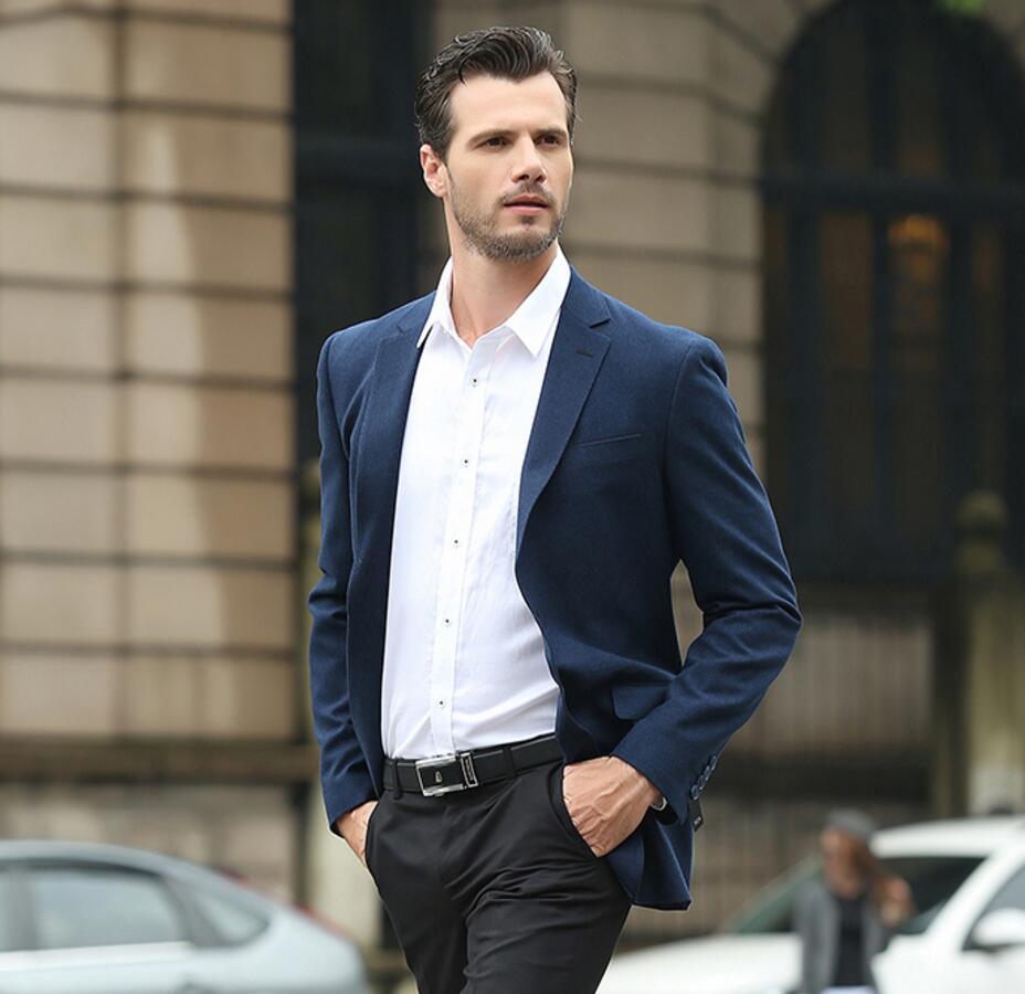 2017 New Leisure Business Men Work Wear Suits Navy Blue