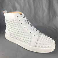 FNJACK Fashion Red bottom Sneakers High-top Flat Shoes Louis Spike Leather Sneaker
