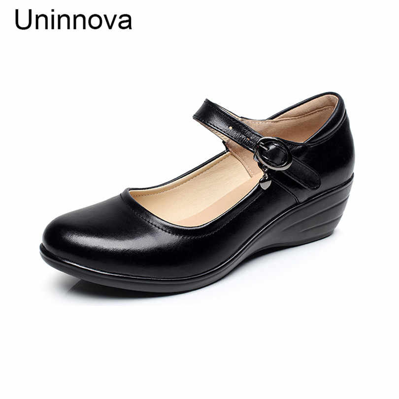 a7bcb04fce32 Women Mary Jane Genuine Leather Pumps Classic Working Wedge Shoes Platform  Comfortable Court Shoes Career Shallow