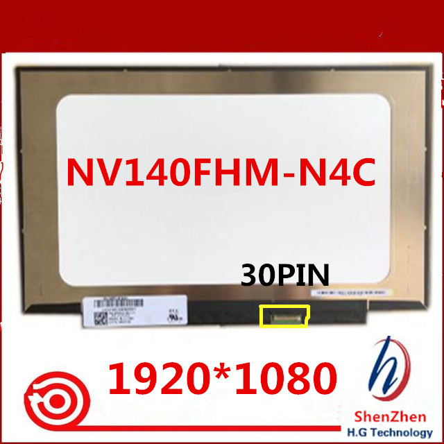 Original new <font><b>14</b></font> <font><b>INCH</b></font> Laptop <font><b>LCD</b></font> LED Screen 1920*1080 <font><b>30</b></font> <font><b>PIN</b></font> IPS NV140FHM-N4C NV140FHM N4C image