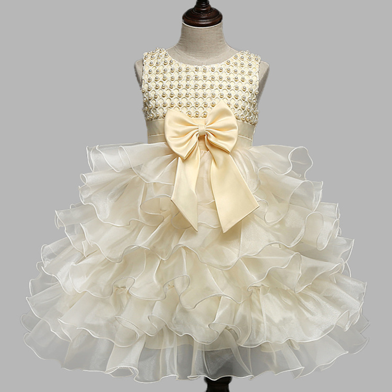 High quality Lace Girl Dresses Children Dress Party Summer Princess Baby Girl Wedding Dress Birthday Big Bow Children Clothes