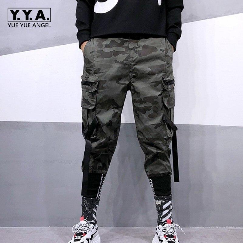 New Trend Street Wear Military Camo Pants Mens Loose Camouflage Harem Pants Men Letter Multi-Pocket Hip Hop Trousers S-XXL