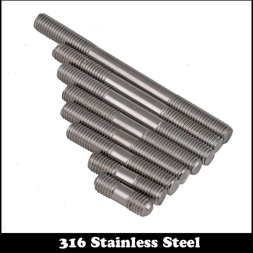 M8 M8*70 M8x70 M8*80 M8x80 M8*90 M8x90 316 Stainless Steel 316ss DIN835 Screw Headless Double End Thread Rod Bolt Stud цена и фото