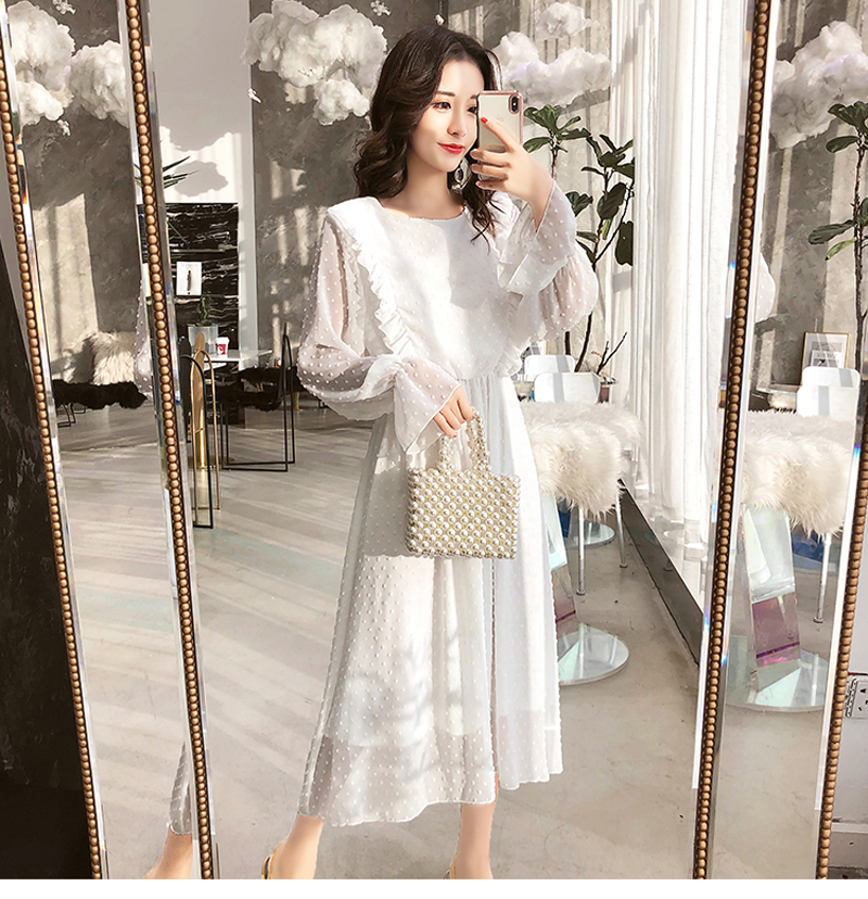 BGTEEVER Ruffles Polka Dot Women Chiffon Dress Elastic Waist Flare Sleeve Female Long Vestidos A-line White Dress 19 15