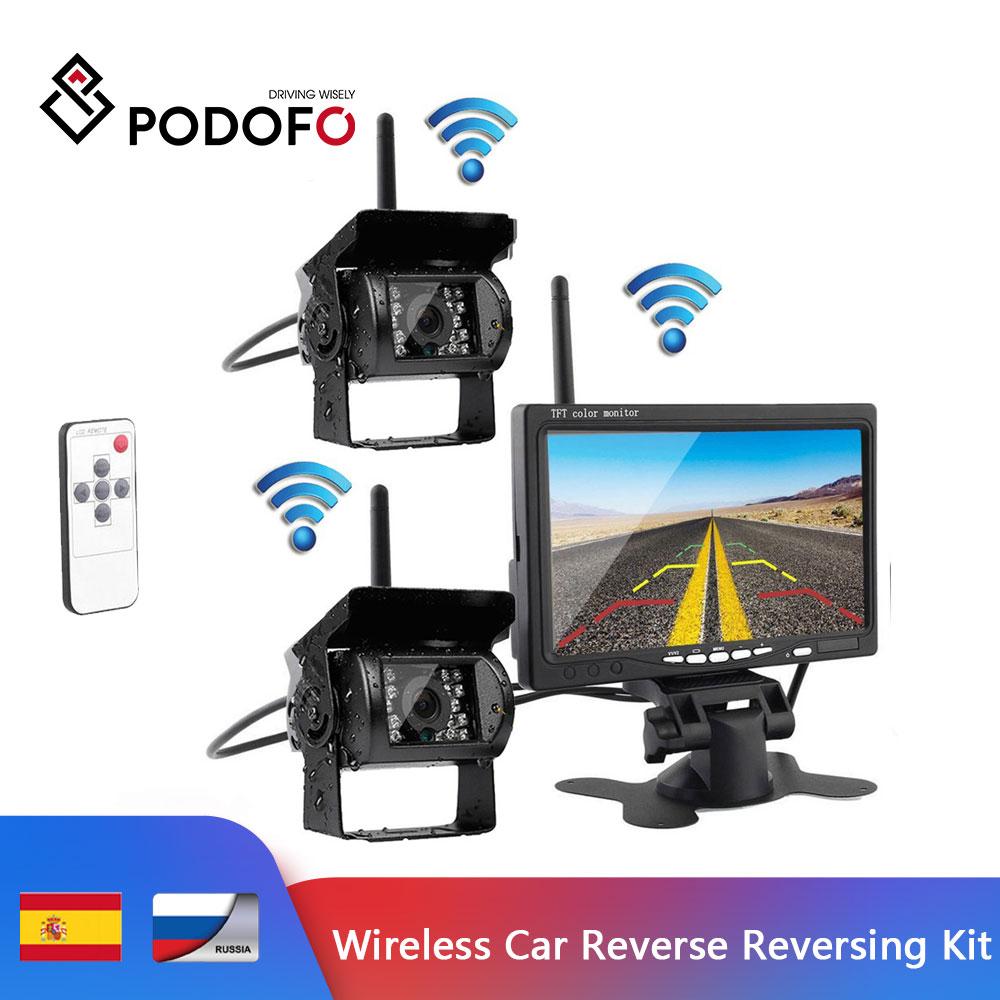 Podofo  Wireless Car Reverse Reversing Dual Backup Rear View Camera for Trucks Bus Excavator Caravan RV Trailer with 7