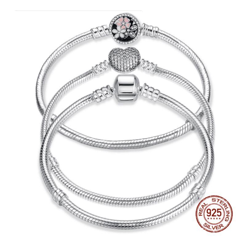8053e920142e Lujo 100% Plata de Ley 925 Original 7 estilos pulsera de cadena brazalete  para mujer ajuste DIY cuenta de encanto auténtica joyería fina regalo