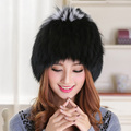 Bomber Hats Fur Women Real Fox Animals Fluffy Fur Pompom Hat Cap Style Solid New Russian Ushanka Women's Winter Hats Caps