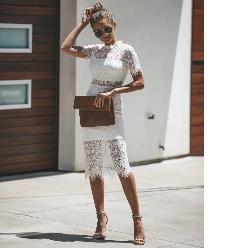 NEW Summer Fashion Sexy Lace dress 2018 Women Summer Short Sleeve stand collar Party Evening Clubwaer Elegant ladies Lace Dress