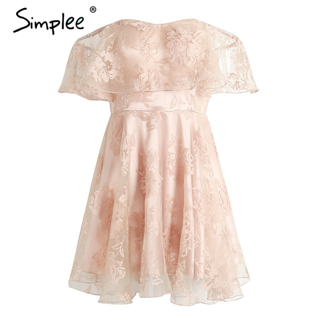 Simplee Off shoulder flower mesh summer dress women Elegant high waist backless mini dress Fashion strapless party robe femme