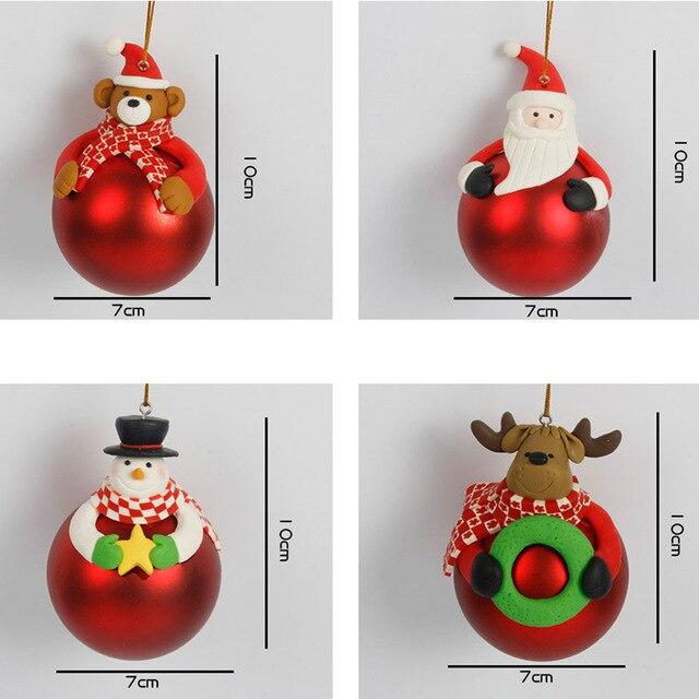 Boules de noël dessin animé père noël | 1 pièce, bonhomme de neige pour arbre de noël, ornements de bonhomme de neige/cerf/ours/père noël, boule souple en céramique