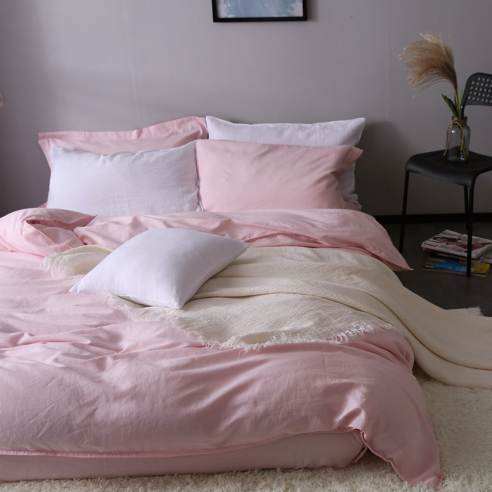 Pink Duvet Cover Us 148 5 Pink 100 Pure Linen Bedding Duvet Cover Linen Bed Sets 3pcs Lot Pink Linen Quilt Cover Hidden Button In Duvet Cover From Home Garden On
