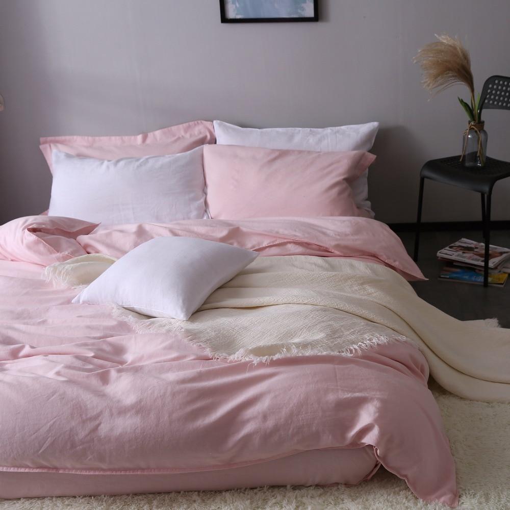Pink 100% pure linen bedding Duvet Cover Linen Bed sets 3pcs/lot Pink Linen Quilt cover hidden button