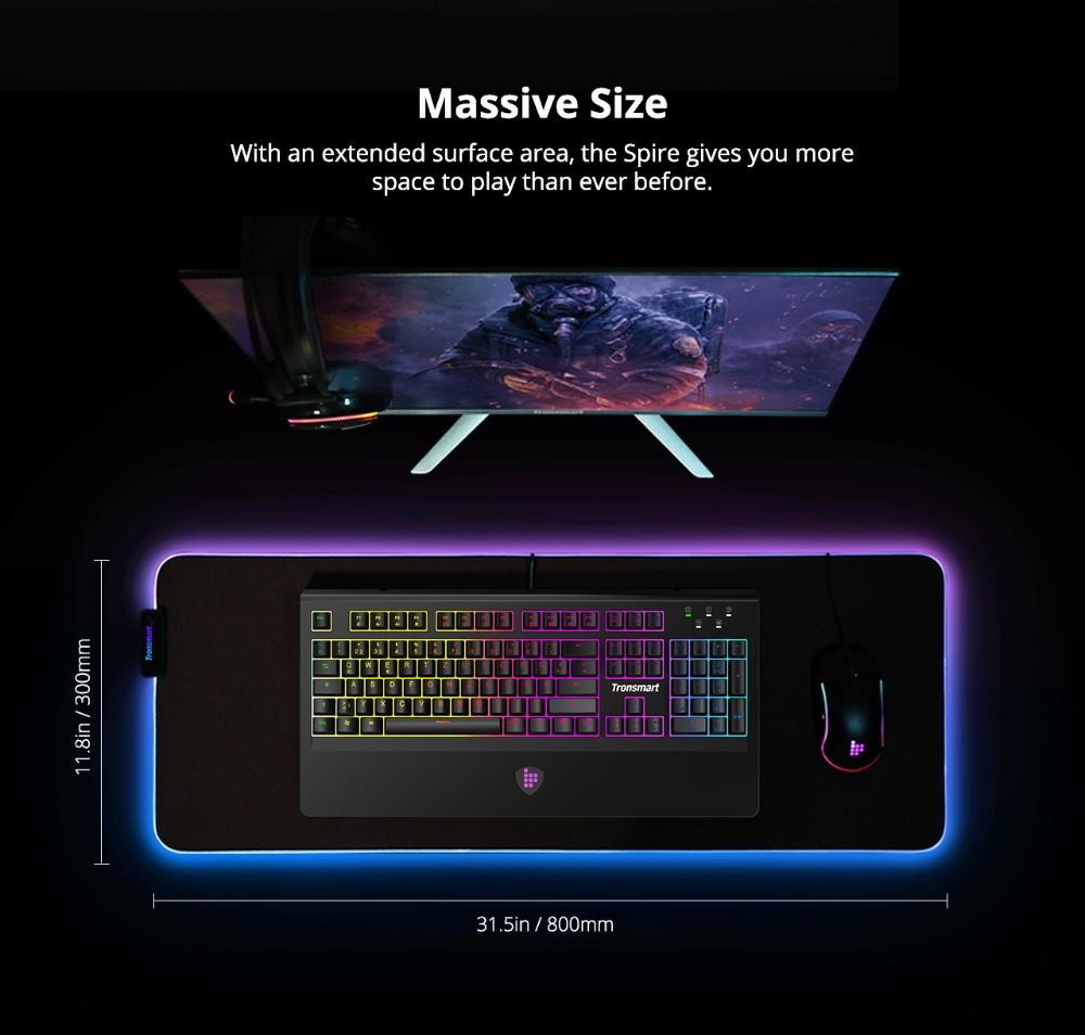 Tronsmart Spire Gaming Mouse Pad Compupter Mouse Pad Gamers RGB Large Mouse Pad with Waterproof,Non-slip for world of warcraft 07
