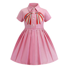 0847181774339 2019 أزياء الصيف فتاة حزب اللباس الوردي الأميرة اللباس عالية الجودة فساتين  اطفال لطيف إلكتروني القوس فساتين لفتاة الاطفال