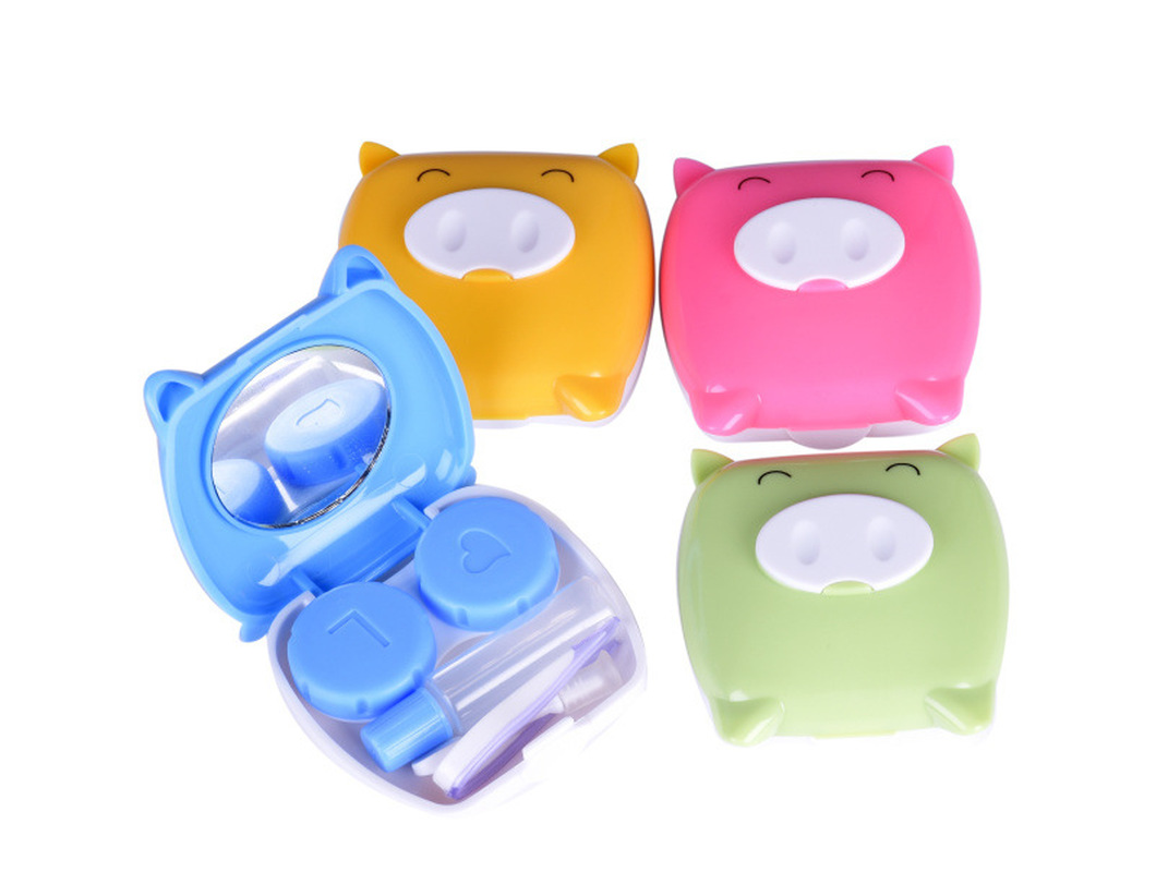 4colors Delivery Lens Gift Glasses Contact Shape New Cartoon Kit Holder Box Lenses Care Case Contact Container Eyes Piggy