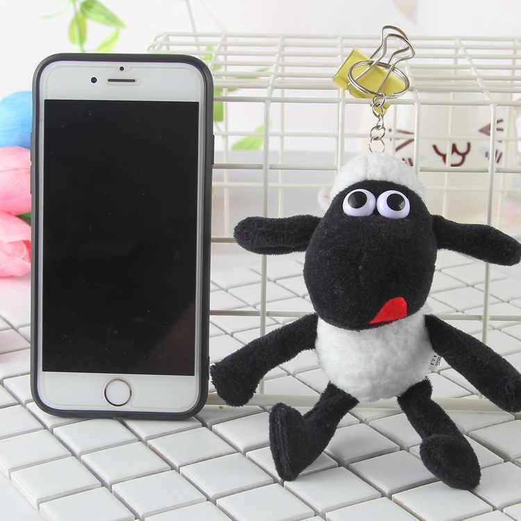 12 cm Anime Clássico Pingente de Pelúcia Brinquedos black Sheep Stuffed Plush baby Dolls Crianças Presentes Keychain Kawaii Saco Mochila