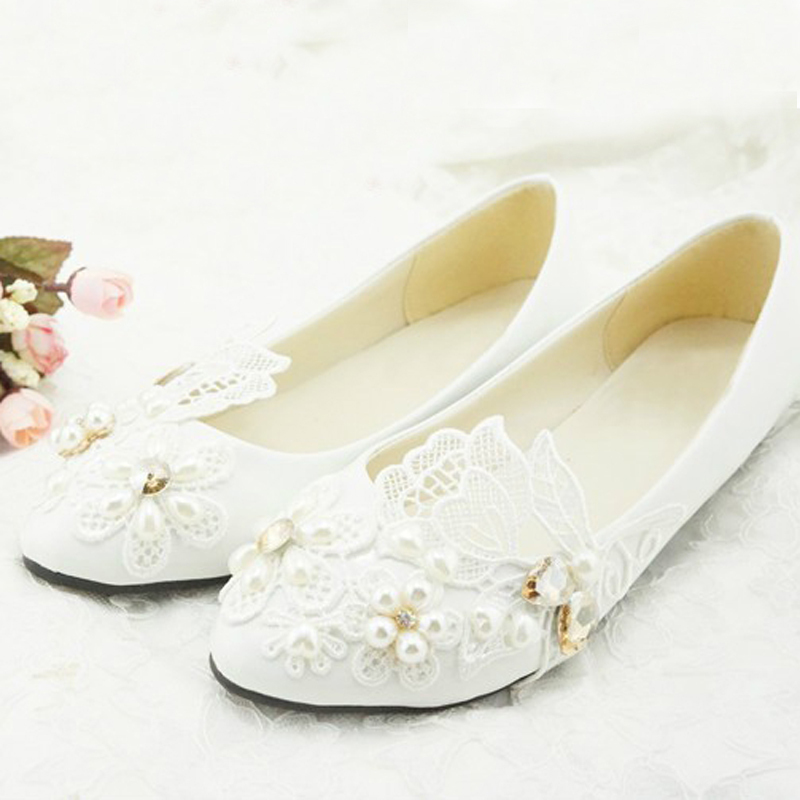 Luxury White Lace Flower Wedding Shoes Woman Shoes Flower Girl Shoes ...