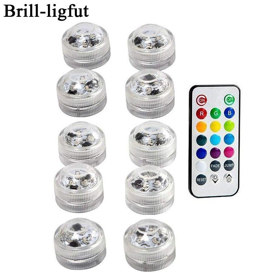 עמיד למים SMD3528 צוללת LED אורות RGB מתחת למים לילה מנורת חתונת תה אור אגרטל קערת מסיבת חג מולד קישוט אור